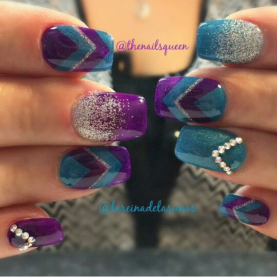 24 Amazing Purple and Teal Nail Designs