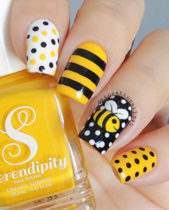 30 Cute Bee Nail Art Designs For Summer