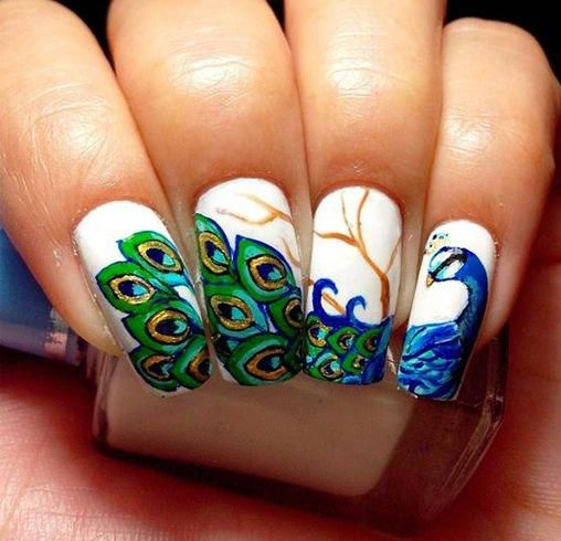 25 Gorgeous Peacock Nail Art Designs