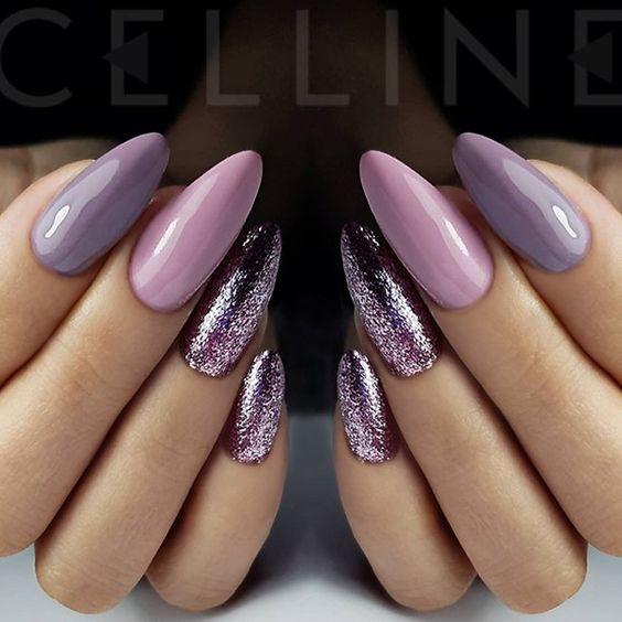 35 Stylish Glitter Almond Nail Designs