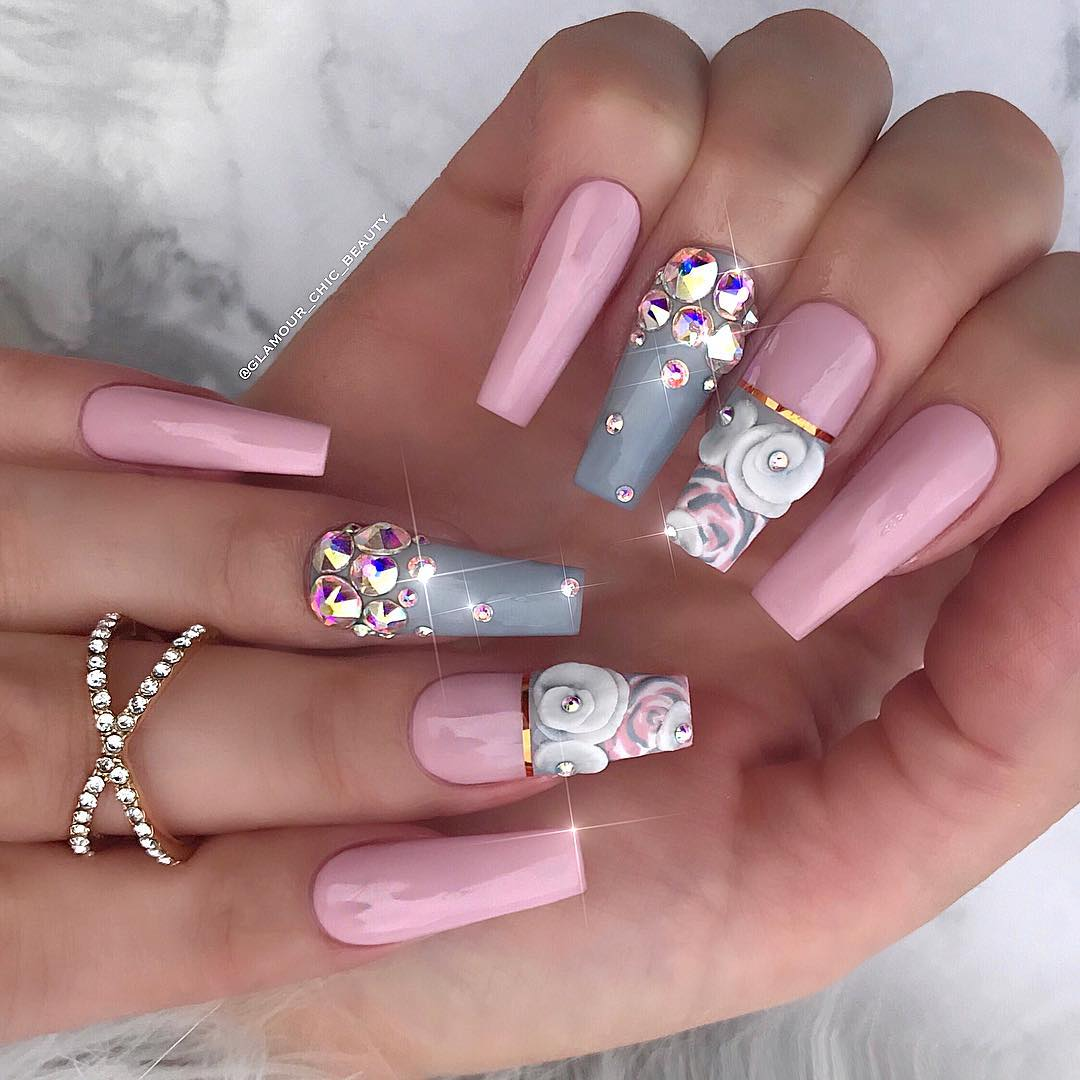 60 Elegant 3D Flower Nail Art Designs