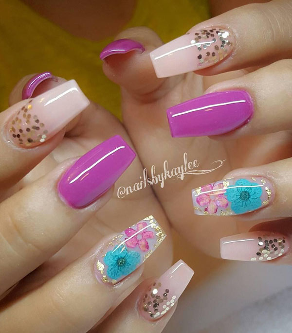 51 Dried Flower Nail Art Designs