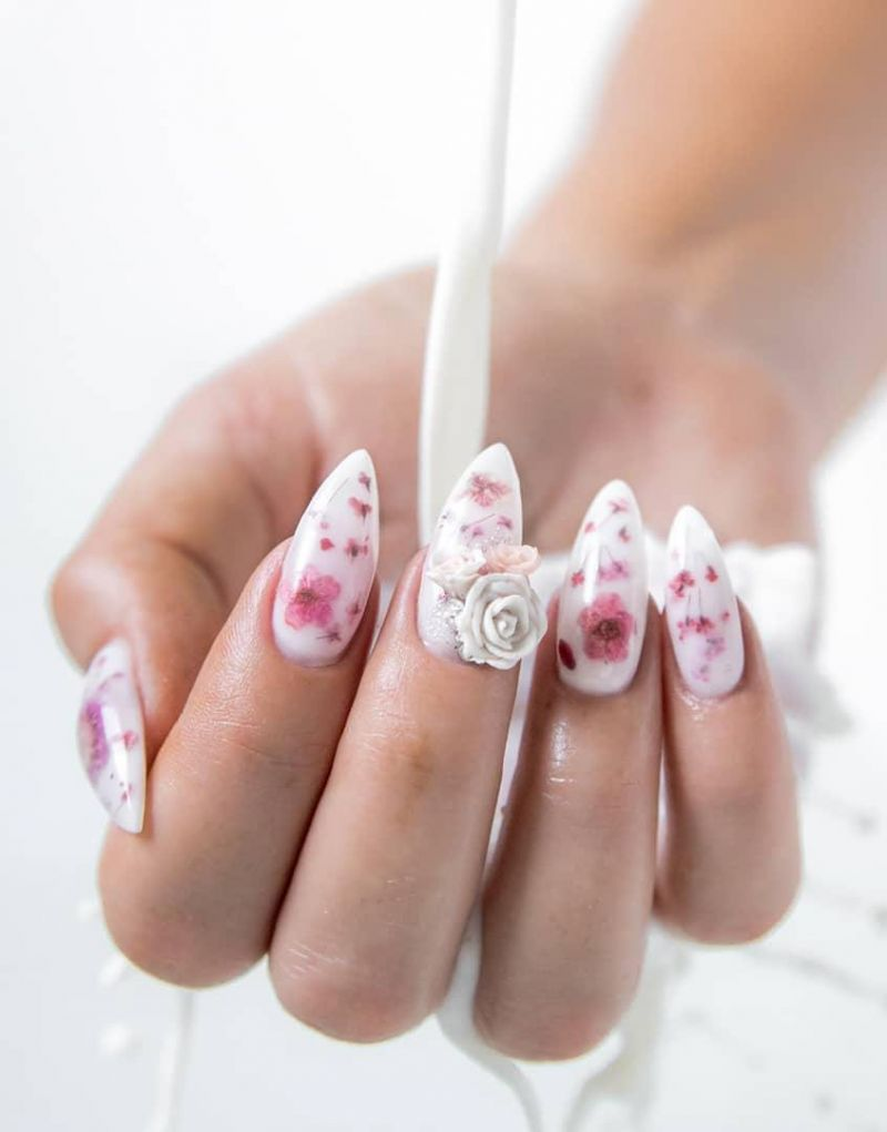 40 Trendy Milk Bath Nails You Must Try
