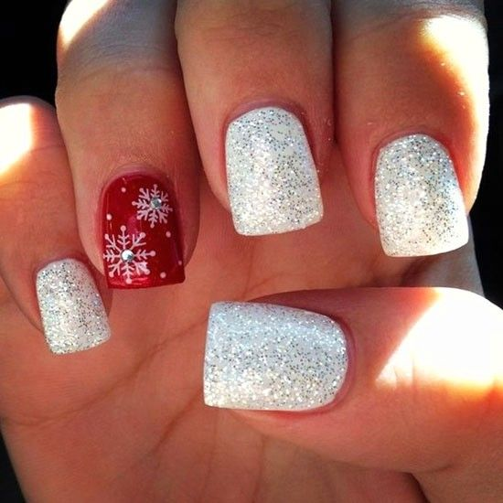 50 Festive Square Christmas Nails To Try Right Now