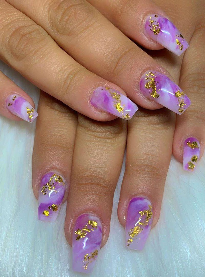 50 Trendy Purple Marble Nails You Must Try
