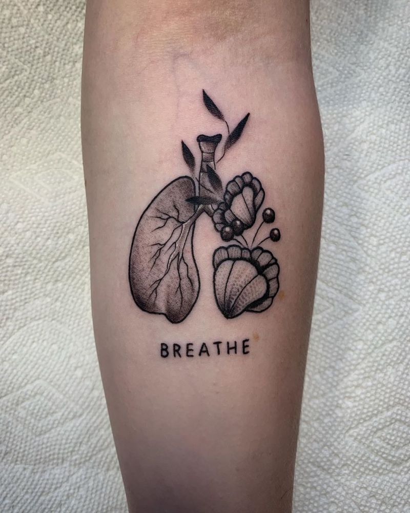 50 Creative Anatomical Lung Tattoos Give You Energy