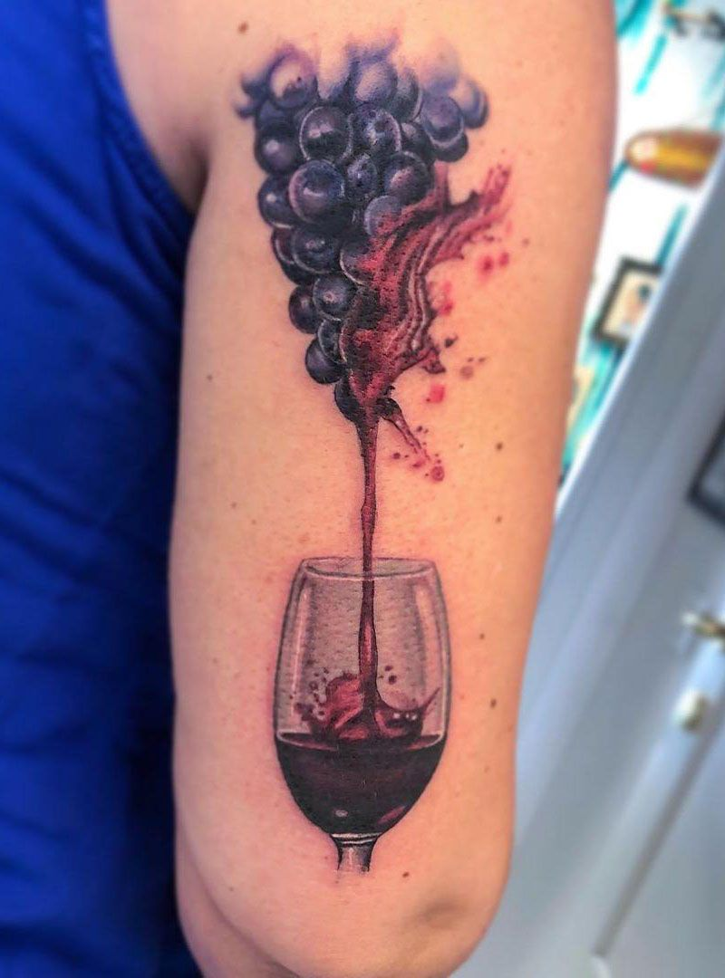 30 Sweet Grape Tattoos Moment Give You The Taste of Happiness