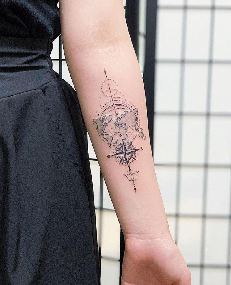 30 Pretty Map Tattoos Make You Want to Go Abroad