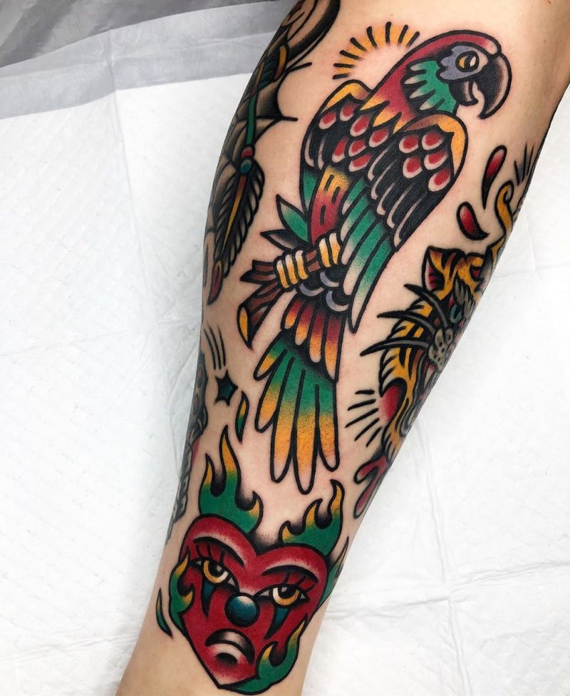 Lovely Parrot Tattoos Make You Happy Every Day