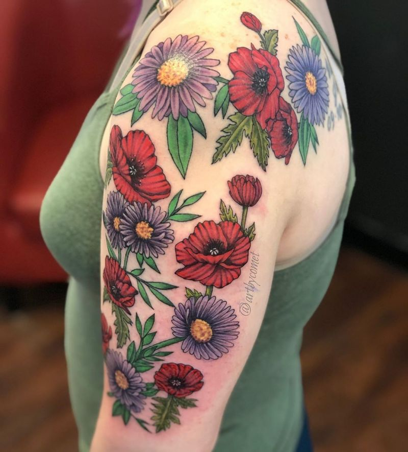 30 Pretty Aster Tattoos for Your Inspiration