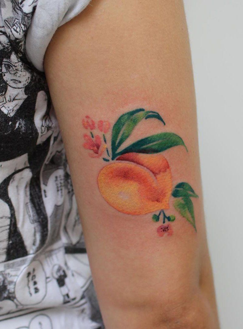 30 Pretty Peach Tattoos for Women You Will Love
