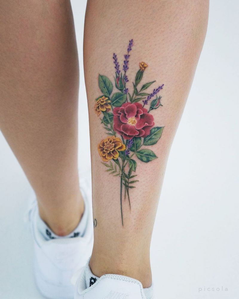 30 Elegant Bouquet Tattoos for Your Inspiration