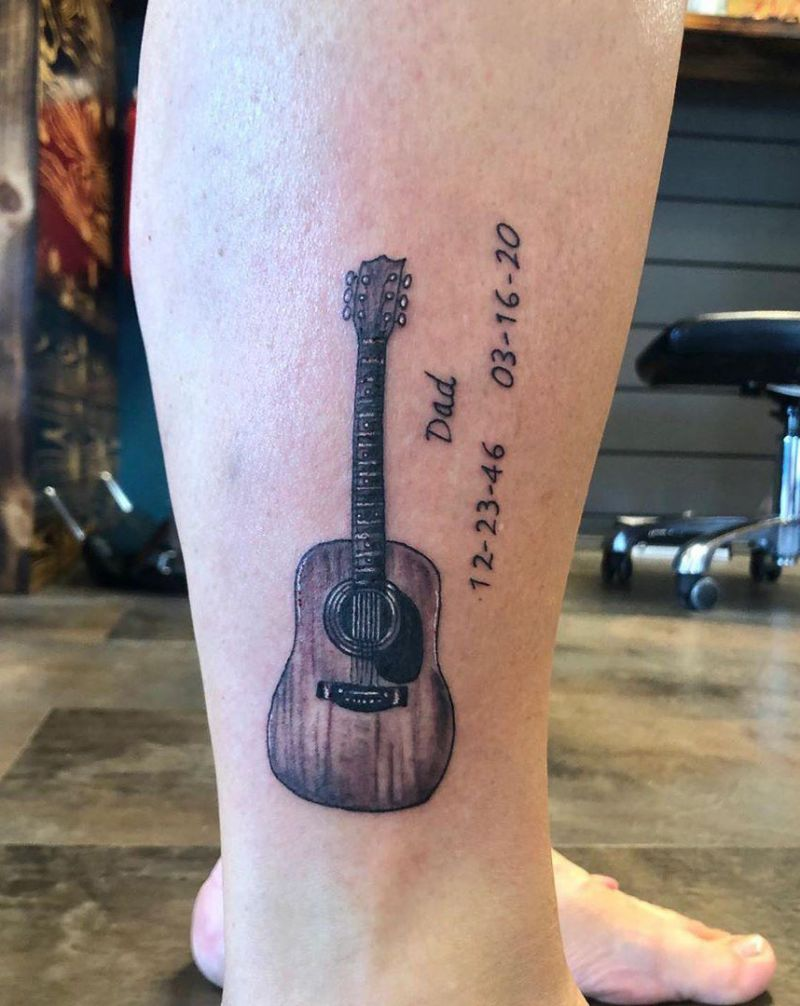 30 Pretty Guitar Tattoos for Your Inspiration