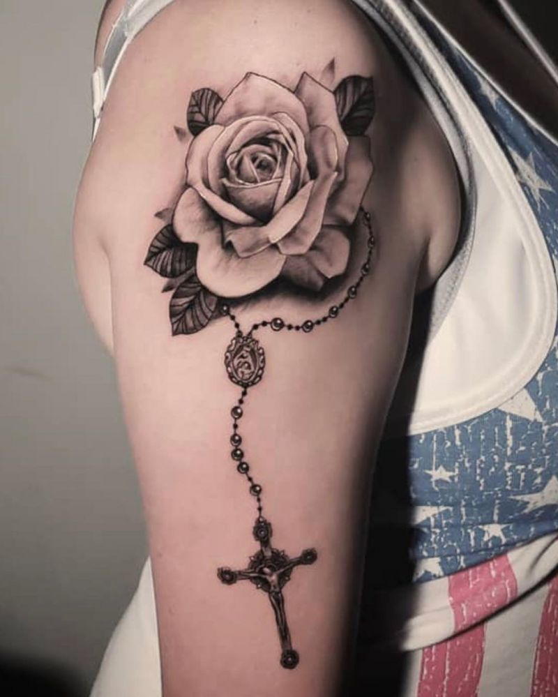 30 Pretty Rosary Tattoos to Inspire You