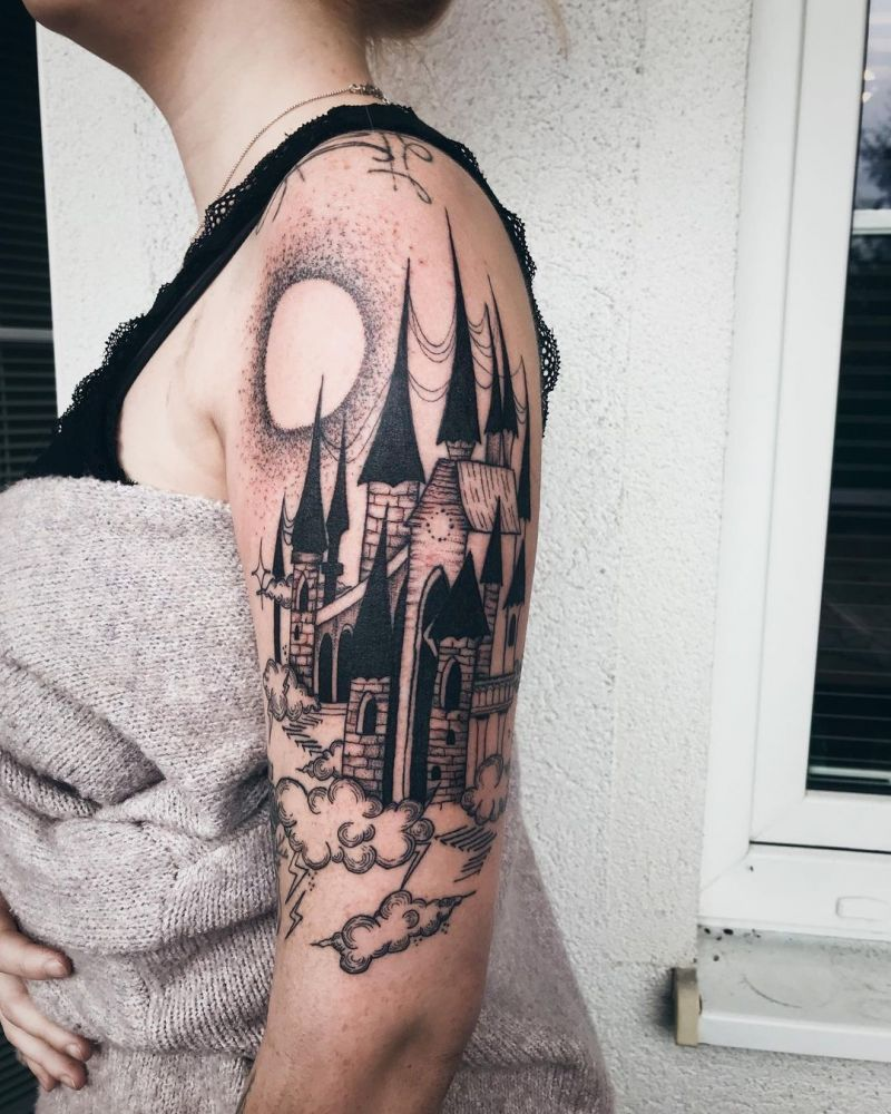 30 Pretty Castle Tattoos that Can Enhance Your Temperament