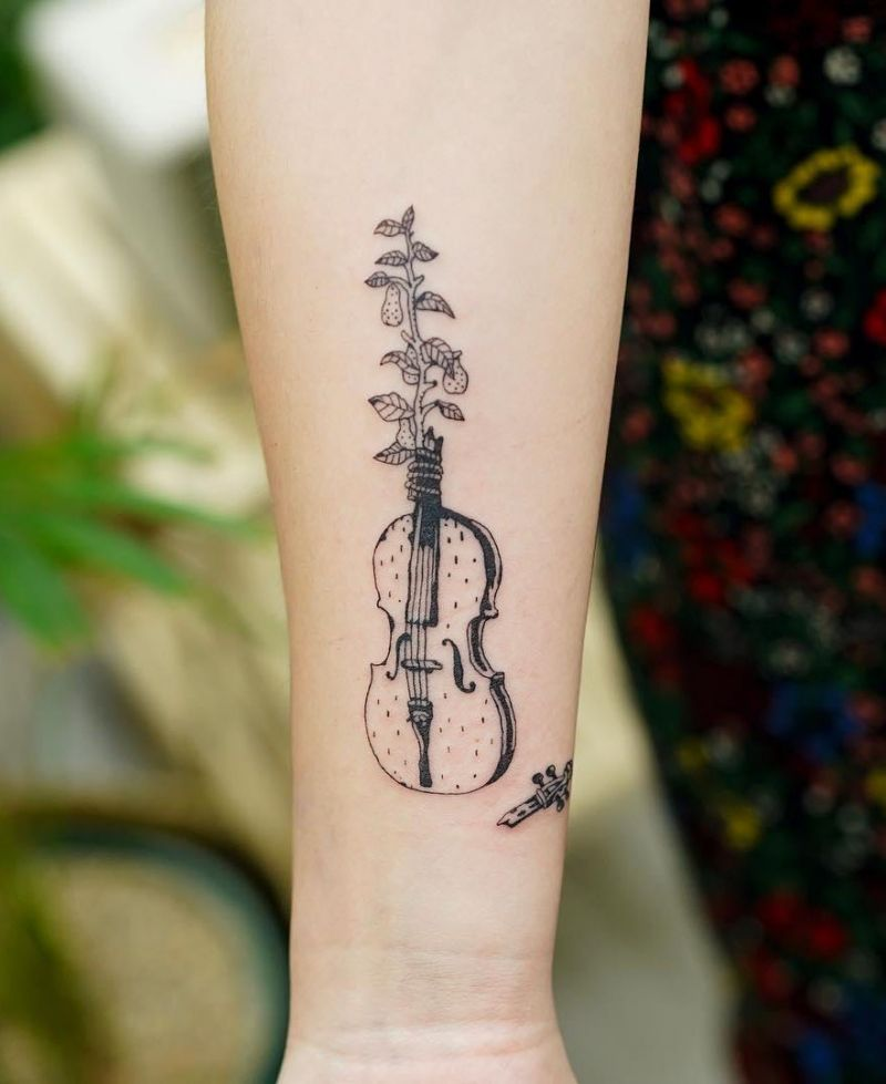 30 Pretty Cello Tattoos Make You Elegant and Beautiful