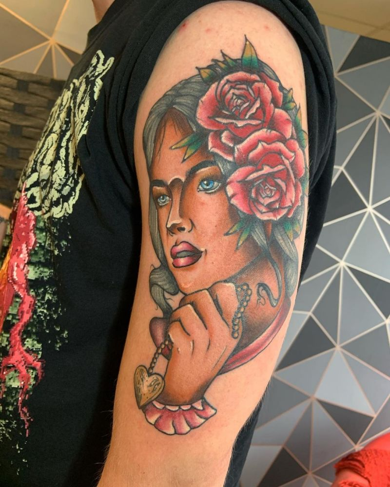30 Pretty Lady Face Tattoos You Will Love
