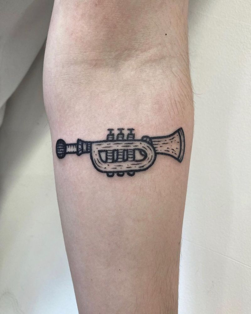 30 Pretty Trumpet Tattoos to Inspire You
