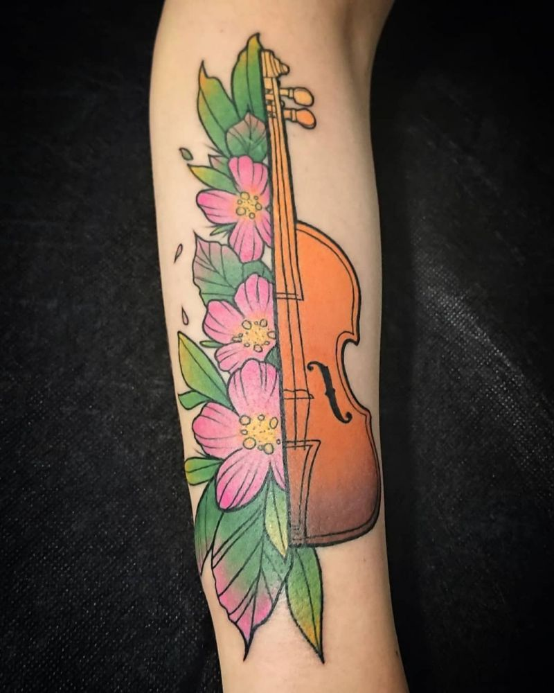30 Pretty Violin Tattoos that Can Enhance Your Temperament