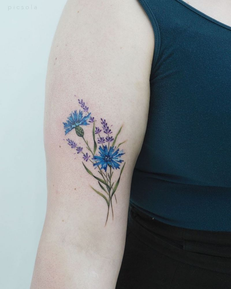 30 Pretty Cornflower Tattoos to Inspire You