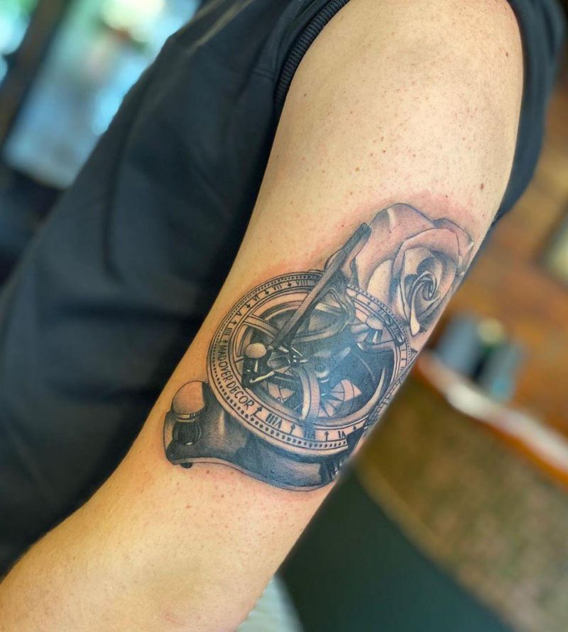30 Amazing Sundial Tattoos to Inspire You