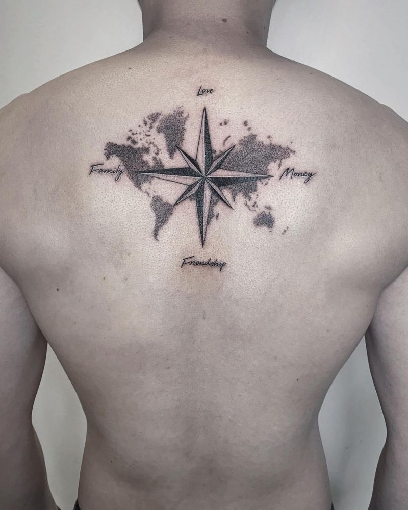 30 Unique World Map Tattoos Make You Love The World