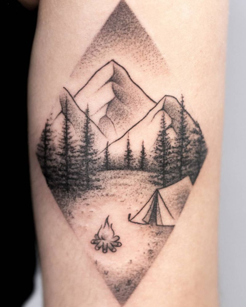 30 Pretty Camp Tattoos You Will Love