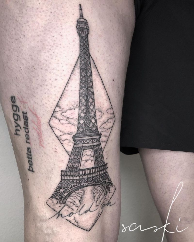 30 Pretty Eiffel Tower Tattoos Make Your Life Full of Romance