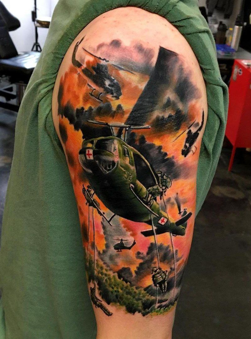30 Pretty Helicopter Tattoos to Inspire You