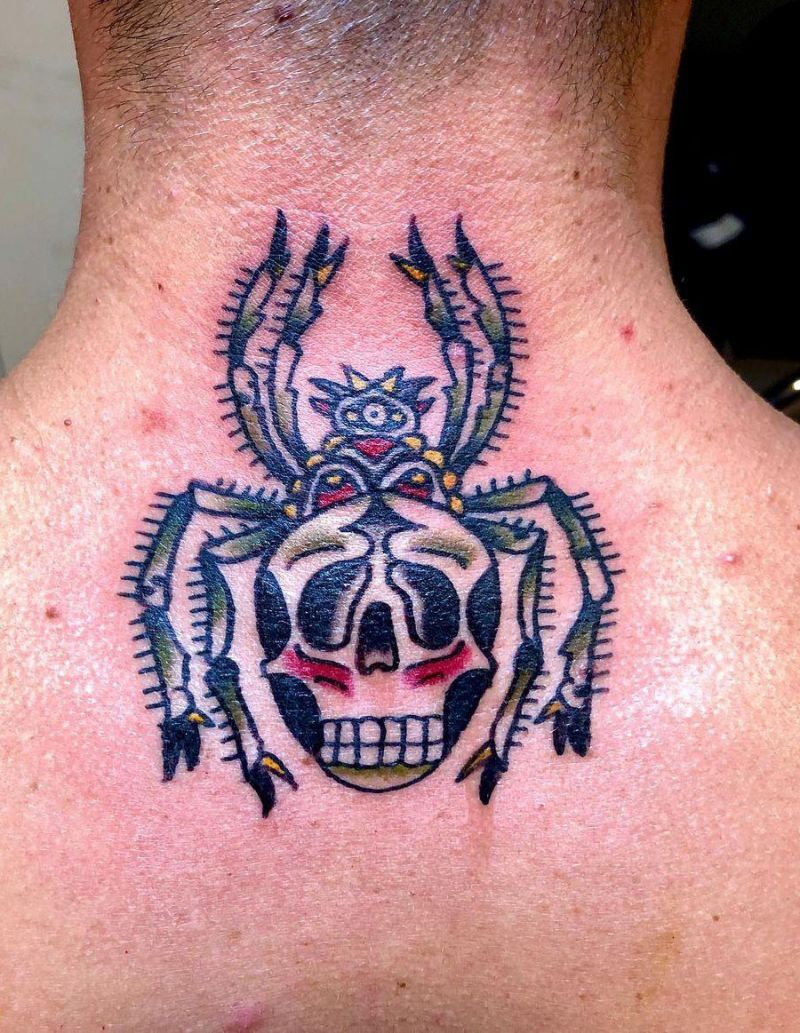 30 Pretty Skull Spider Tattoos You Must Try