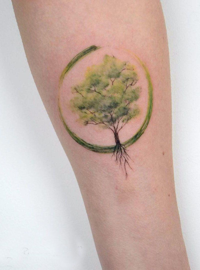 30 Pretty Watercolor Tree Tattoos You Want to Try