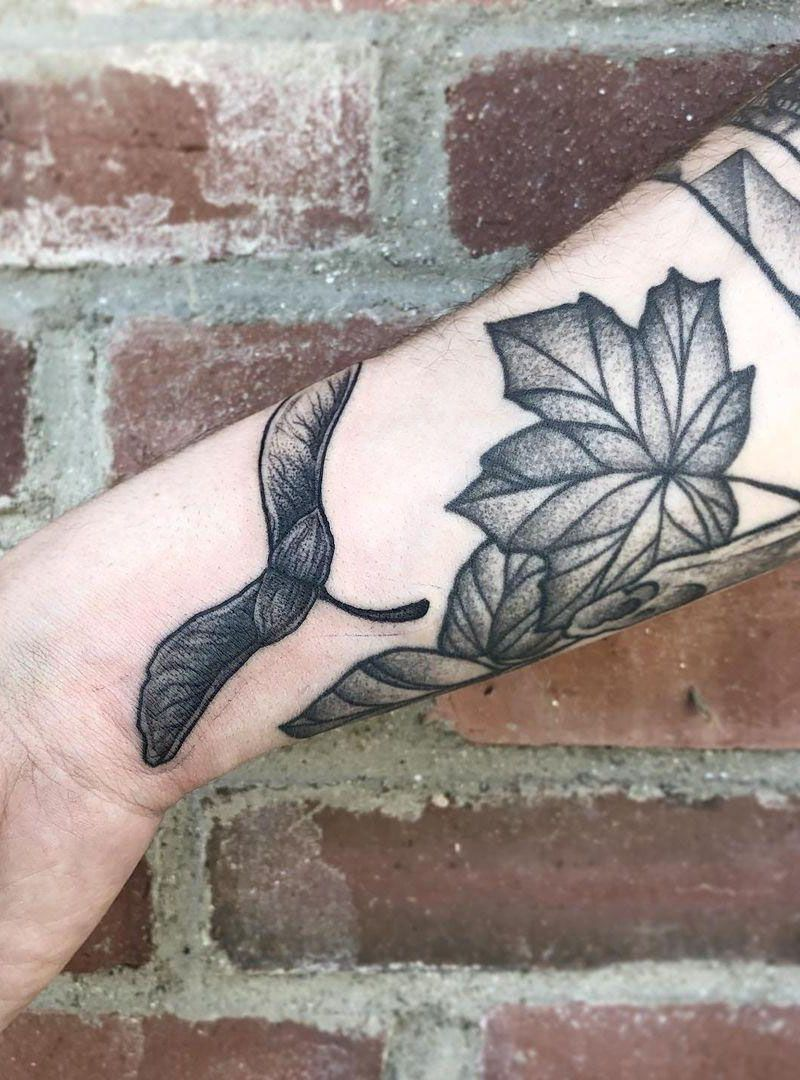 30 Pretty Maple Seed Tattoos Make You Attractive