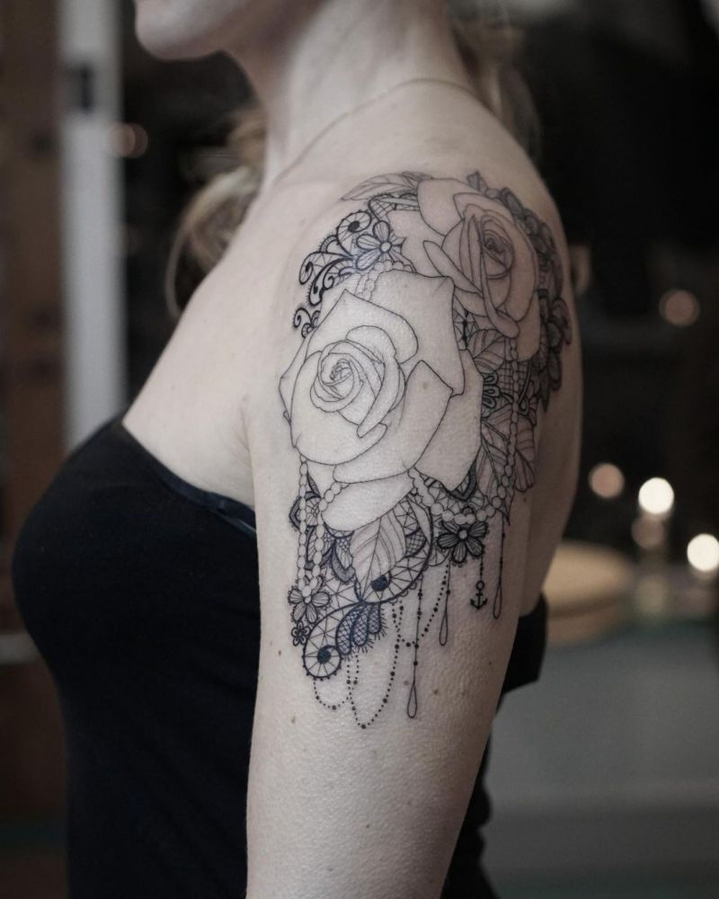 30 Pretty Lace Tattoos That Make You Excited