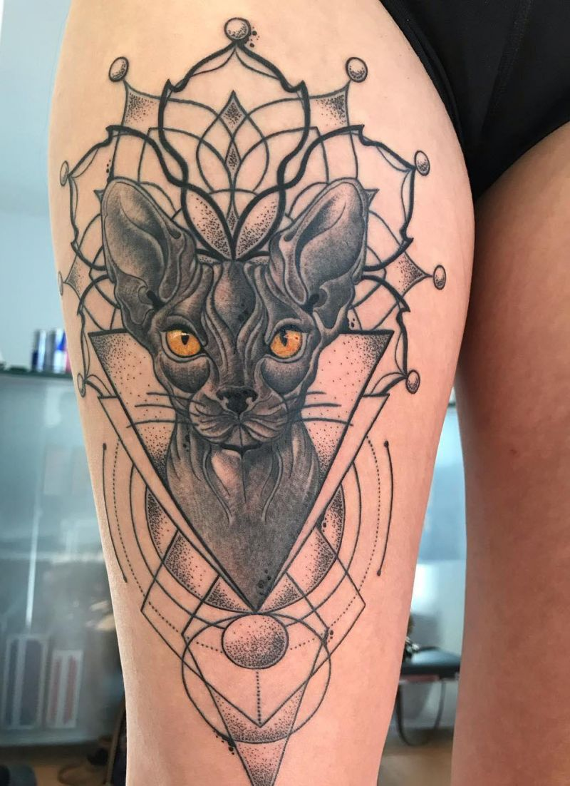 30 Pretty Sphinx Cat Tattoos to Inspire You