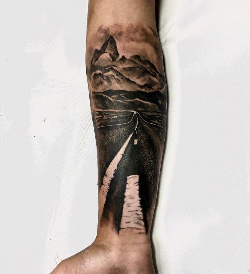 30 Pretty Road Tattoos to Inspire You
