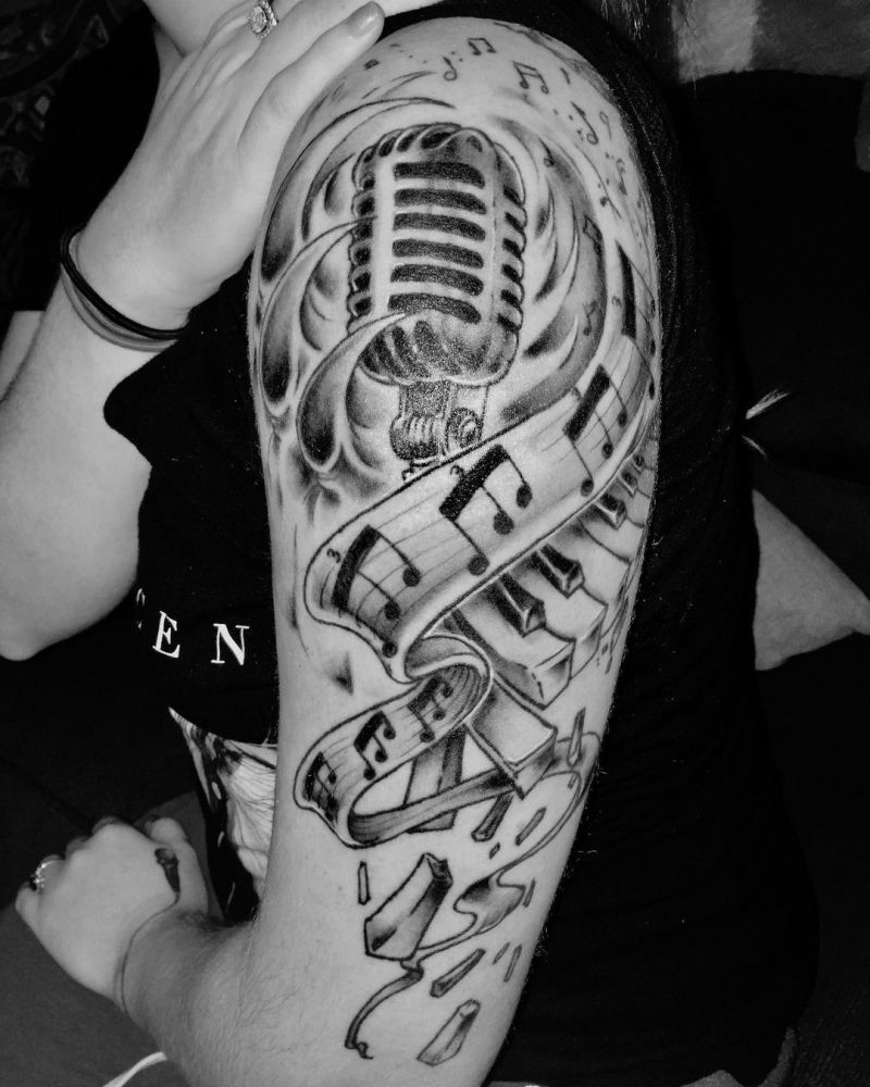 30 Pretty Microphone Tattoos Make You Attractive