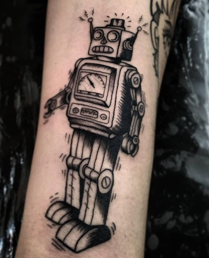 30 Pretty Robot Tattoos You Will Love