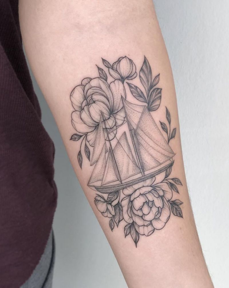 30 Pretty Sailboat Tattoos You Must Love