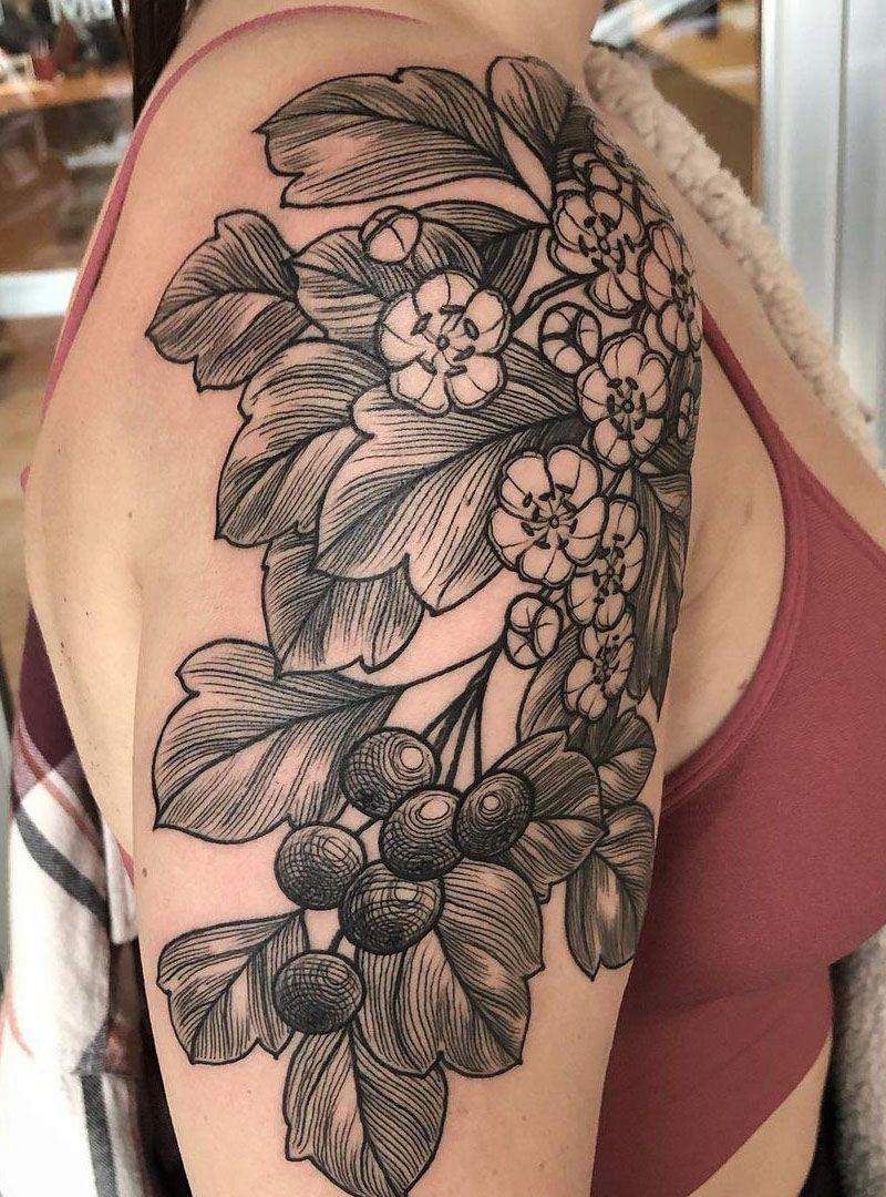 26 Pretty Hawthorn Tattoos You Can Copy