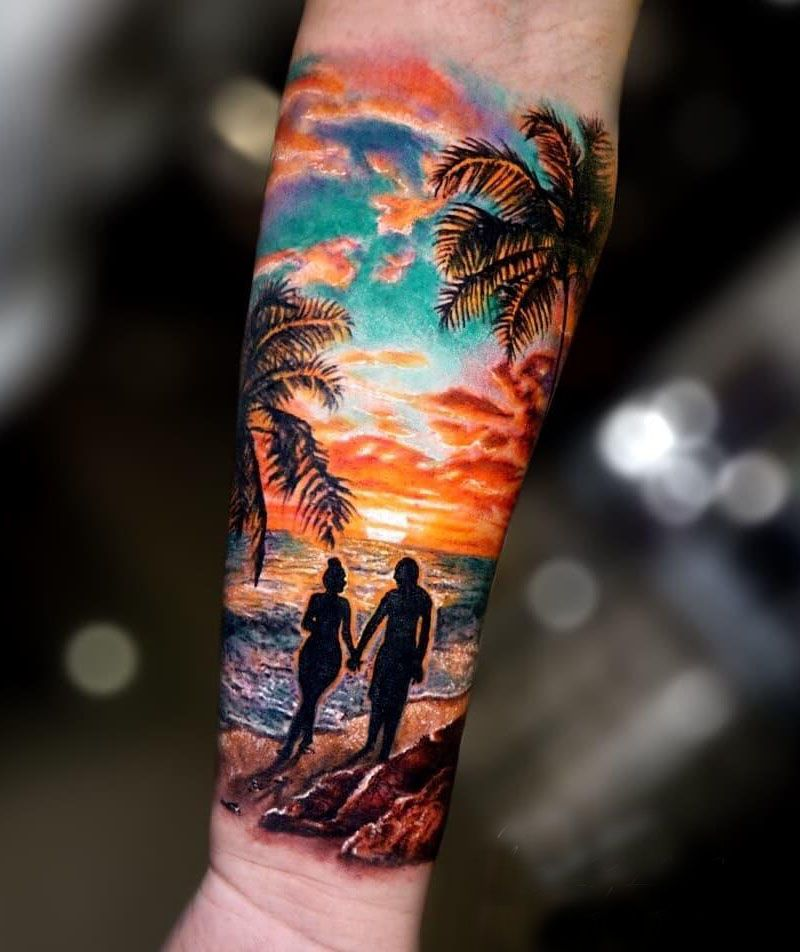 30 Pretty Sunset Tattoos You Can Copy