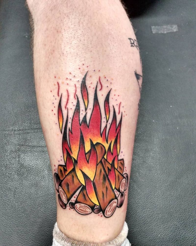 30 Pretty Bonfire Tattoos You Must Try