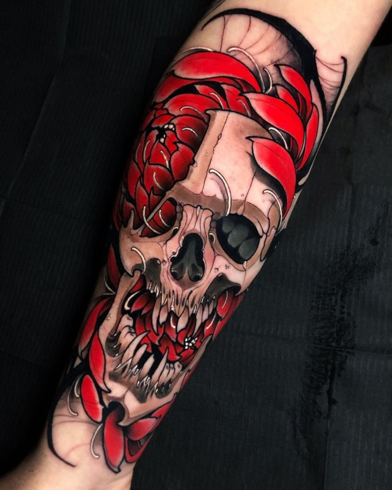 30 Unique Flower Skull Tattoos You Can Copy